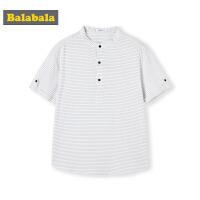 巴拉巴拉男童短袖衬衫中大童夏装新款童装儿童条纹衬衣纯棉男