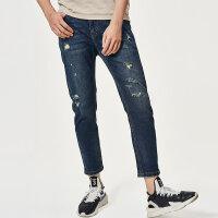 七匹狼旗下圣沃斯2019牛仔裤青年男士时尚潮流中低腰修身牛仔长裤