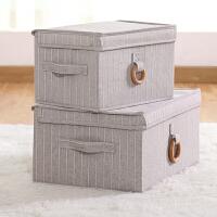 衣服收纳箱有盖可折叠布艺衣柜整理箱家用储物箱玩具内衣物收纳盒