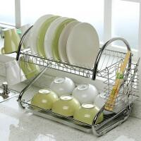 厨房用品多功能S型双层碗碟架/厨房收纳双层置地接水盘碗柜筷筒杯子架碗架9字型碗架餐具架/