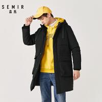 森马羽绒服男新款冬季时尚连帽帅气工装黑色外套保暖加厚男装