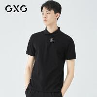 GXG男�b 夏季新品青春�r尚休�e潮流黑色POLO衫男