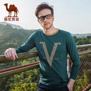 骆驼男装 春季新款微弹圆领字母图案休闲长袖T恤衫 男士t恤