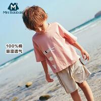 【99选3】迷你巴拉巴拉男幼童短袖T恤宽松廓形儿童体恤衫宝宝纯棉上衣夏款