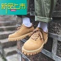 新品上市春季工装鞋男士马丁靴韩版百搭鞋子英伦休闲鞋厚底短靴 黄色