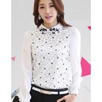 新款女装韩版休闲修身雪纺衫女士上衣蕾丝打底衫潮衬衫长袖女