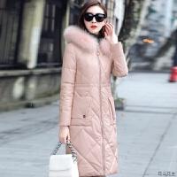 2018冬季新款韩版皮棉袄女pu中长款加厚羽绒宽松过膝棉衣外套