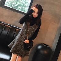 法国式小众鱼尾连衣裙秋冬季加厚高领针织毛衣加背带裙子两件套装