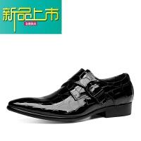 新品上市新款男士牛皮尖头皮鞋英伦真皮商务正装皮鞋搭扣亮皮走秀皮鞋婚鞋