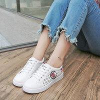 2018夏季新款单鞋女鞋子低帮鞋学生圆头平底鞋镂空板鞋透气 红色 35