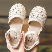 女童凉鞋2019新款时尚中大童小女孩宝宝沙滩鞋儿童软底包头公主鞋
