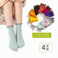 儿童袜子春秋薄款女童秋冬季中筒花边糖果色堆堆袜可爱学生袜