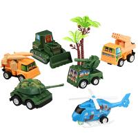 汽车模型 合金回力小汽车模型男孩惯性工程车套装军事坦克滑行飞机儿童玩具 回力军事系列 六款组合