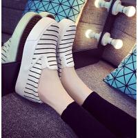 布鞋厚底鞋黑白色懒人鞋帆布鞋女鞋内增高韩版休闲鞋