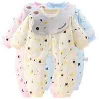 婴儿开档连体衣春秋装宝宝夹棉哈衣开裆衣服保暖加棉新生儿薄棉衣