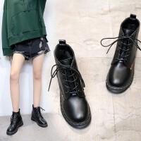 �R丁靴前系��女短靴�仍龈吲�鞋2018秋冬季新款英���凸棚L粗跟厚底 黑 色
