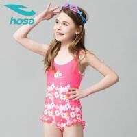 hosa浩沙儿童泳衣女童碎花连体三角中大童学生游泳衣新款泳装