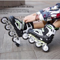 溜冰鞋成年旱冰鞋滑冰儿童全套装直排轮滑鞋闪光可调男女