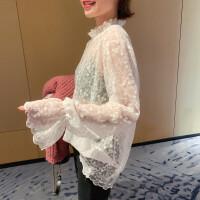 【下单立减100元 仅限今日】搭配毛衣穿超美.蕾丝衫女2020春季新款韩版网纱内搭花边蕾丝领超仙洋气打底上衣