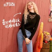 【2件2.5折:123】妖精的口袋蕾丝拼接黑色内搭半高领毛衣2020春季新款女针织打底衫