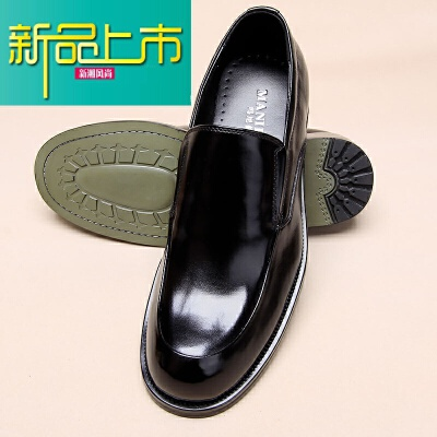 新品上市男士牛皮商务正装皮鞋男英伦一脚蹬真皮男鞋厚底套脚大头鞋父亲鞋   新品上市,1件9.5折,2件9折