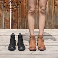 靴子女短靴秋季新款短筒时装靴中跟平底切尔西靴复古皮带扣马丁靴5309-18