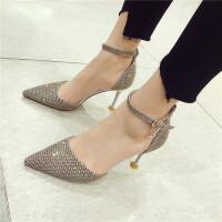 高跟鞋女19年春季新款女鞋千鸟格尖头浅口细跟超高跟一字扣带单鞋