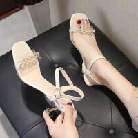 女士凉鞋女户外时尚高跟仙女的鞋ins百搭透明细跟