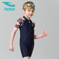 hosa浩沙连体平角儿童泳衣 男童中大童游泳衣 新款带拉链可爱