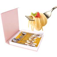 红玫瑰骨瓷勺筷套装礼盒10件套 礼品餐具筷子勺子叉子陶瓷不锈钢组合圆筷骨瓷筷便携方便餐具