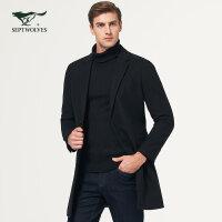 七匹狼毛呢大衣冬季保暖青年男士外套中长款翻领单排扣大衣