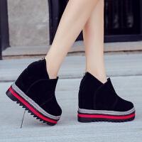 马丁靴百搭厚底超高跟黑色短靴坡跟鞋2018秋冬新款内增高女鞋12cm