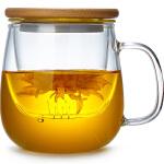 玻璃茶杯家用花茶杯透明带盖泡茶杯办公水杯