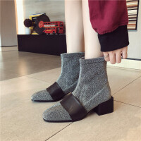 靴子女方头短筒靴粗跟2018秋冬新款中跟学生显瘦韩版时尚弹力靴子