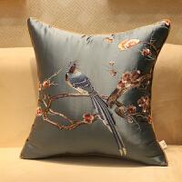 新中式抱枕刺绣鸟语花香古典红木沙发靠垫套床头软包大靠背枕含芯