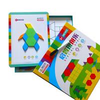 磁性拼图磁力七巧板拼拼乐几何形状儿童益智玩具智力拼板4-5-67岁