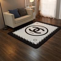 潮牌个性家用地毯简约地垫吸水客厅卧室少女ins网红黑色暗黑系 乳白色 白香