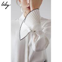 【此商品每满200减50,到手价179元】 Lily春新款女装商务提花印花直筒压褶喇叭袖衬衫119130C4222