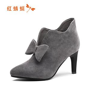 红蜻蜓女鞋秋冬休闲鞋鞋子女女靴子短靴WXC7428