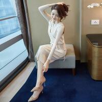 针织连衣裙春秋新款女矮个子时髦女神气质毛衣裙子两件套装夏装 杏色 S