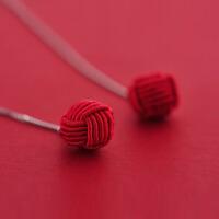 女气质简约长款耳饰S925银配饰红绳编织新年款耳环耳线