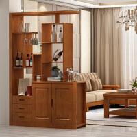 新中式客厅入户实木双面酒柜玄关柜隔断柜屏风柜门厅柜家用间厅柜 组装