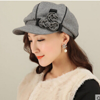 女新款时尚休闲韩版圆顶礼帽羊毛呢帽时尚礼帽鸭舌帽
