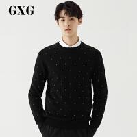 GXG男装 秋季男士时尚青年都市潮流刺绣黑色低领毛衫毛衣男