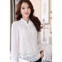女装长袖韩版修身显瘦女士打底衫潮蕾丝雪纺上衣立领