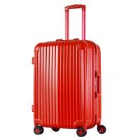 20寸24寸28寸万向轮拉杆箱结婚行李箱婚庆新娘婚礼箱子箱包密码箱大红色可商务 红色 铝框款
