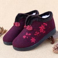 布棉鞋女冬季加绒加厚东北呢子老人滑奶奶冬鞋