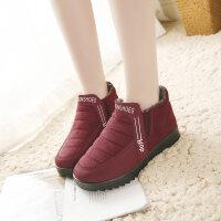 老北京冬季妈妈鞋女中老年加绒加厚保暖棉鞋滑平底棉靴