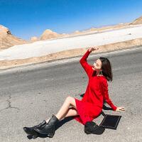 卡贝琳女2019新款秋装女装很仙的法国小众红色针织连衣裙女秋冬直筒小红裙