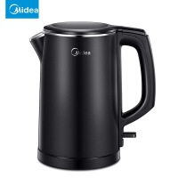美的(Midea)电水壶 304不锈钢电热水壶 1.5L容量 无缝一体内胆 双层防烫烧水壶MK-HJ1512(黑)